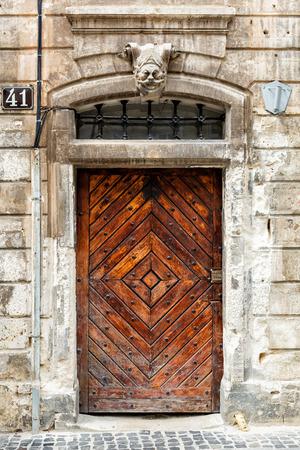 Old brown wooden door. photo