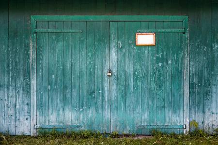 old red barn: Old wooden barn door. Stock Photo
