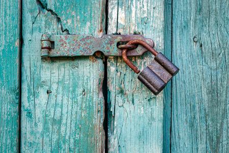Old padlock closeup.