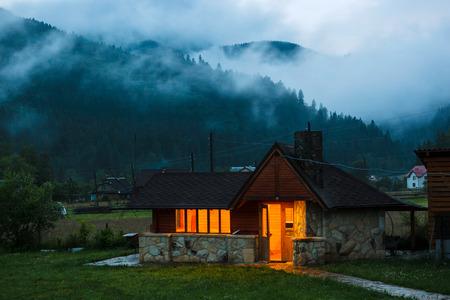 Summer kitchen in Carpatian Mountains. Ukraine. photo