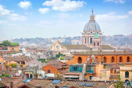 trinita: Rome Panoramic view from Viale Della Trinita dei Monti. Stock Photo