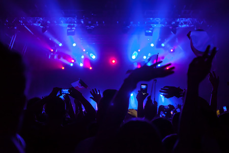 Cheering crowd having fun at a concert. Stock Photo