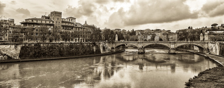 tiber: View at Tiber riverbank in Rome. Toned variant.
