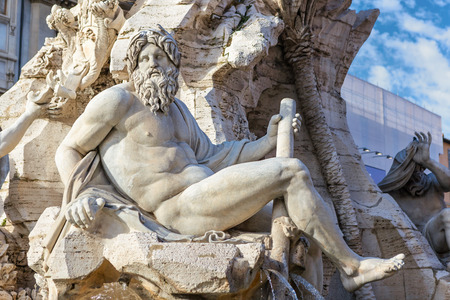 ganges: Fountain of the Four Rivers closeup at Piazza Navona, Rome, Italy.