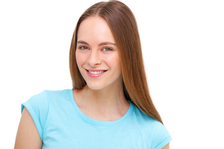 teen girl smile face: Beautiful young woman portrait isolated on white background Stock Photo