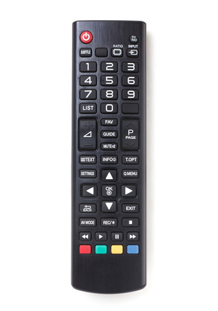 TV remote control isolated on white. Archivio Fotografico