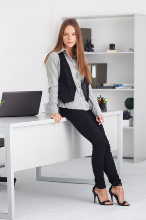 brunette girl: Portrait of young beautiful business woman at her office.