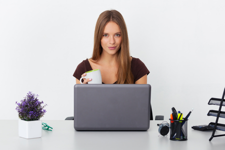 Portrait of young beautiful business woman working at her office. Stok Fotoğraf