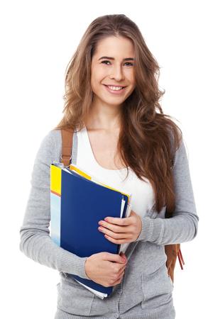Jonge gelukkige student op een witte achtergrond.
