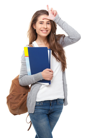 looser: Happy student showing L sign isolated on white. Stock Photo