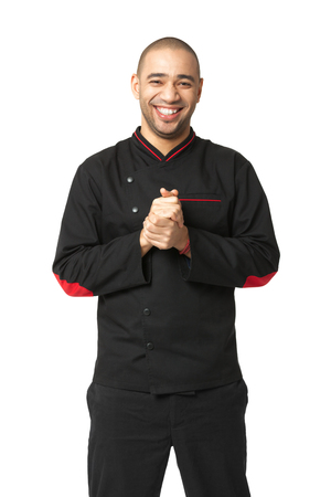 cordiality: Portrait of  happy Afro American professional cook isolated on white.