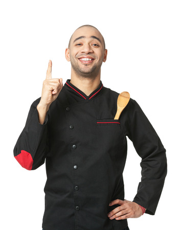 cook: Portrait of happy Afro American professional cook isolated on white.
