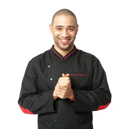 cordial: Portrait of  happy Afro American professional cook isolated on white.