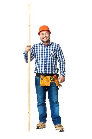 skilled: Portrait of construction builder isolated on white background.