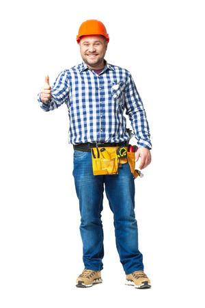 skilled labour: Portrait of construction builder isolated on white background.
