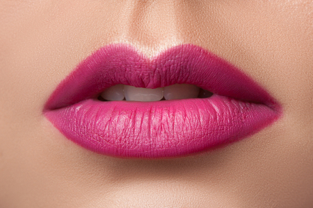 pink lips: Beautiful sexy pink lips of a young girl. Stock Photo