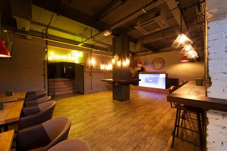 night club interior: Empty dance floor. Night club interior.