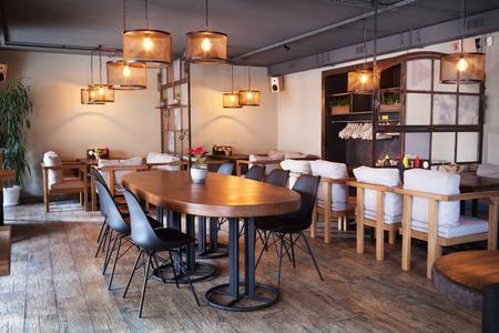 Modern european cafe interior in downtown.