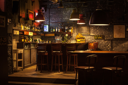 tavern: This is interior of modern european pub.