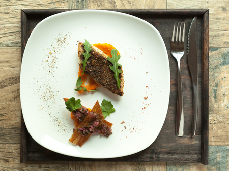 pikeperch: Pike-perch fillet with vegetable sauce and Mexican salsa Fried perch fillet with vegetable puree. Stock Photo