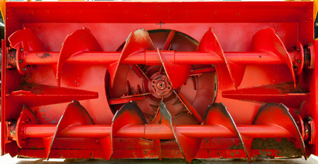 snow plow: Front view of old red snow plow.