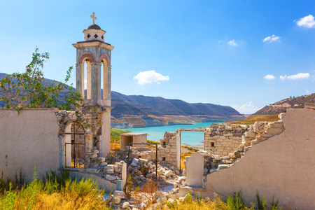 intrest: Abandoned Church of St. Nicholas at the Kouris Reservoir. Cyprus. Stock Photo