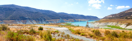 Panoramic view of Church of St. Nicholas at the Kouris Reservoir. Cyprus.