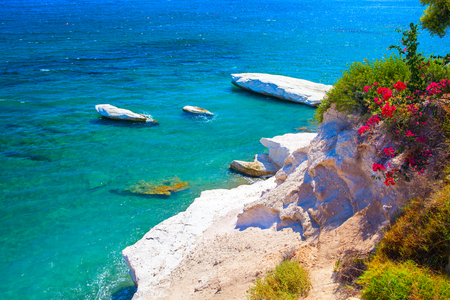 Beautiful coast view near Kalymnos Beach in Cyprus. Stock Photo