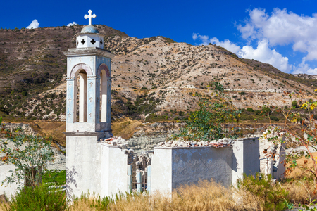 Abandoned Church of St. Nicholas at the Kouris Reservoir. Cyprus. Stock Photo