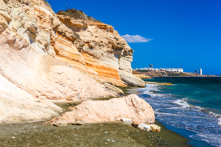 View of the sea and a rocks near Kalymnos Beach in Cyprus. Stock Photo