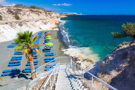 View of the sea and a beautiful beach near Governors beach, Cyprus. Stock Photo
