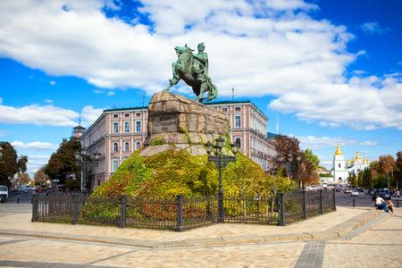 KIEV, UKRAINE - SEPTEMBER 18 2016: Monument to Bogdan Khmelnitsky on Sofia square. Kyiv, Ukraine. Editorial