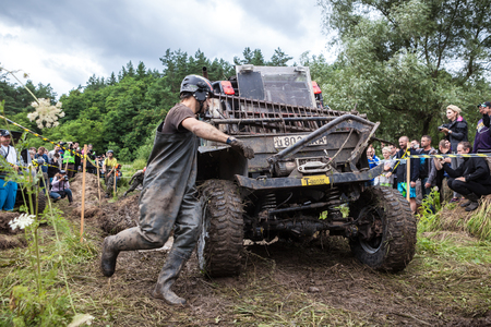 LUBOTIN, UKRAINE - JULY 23, 2016: RFC Ukraine Wild Boar Challenge 2016. Custom built TR3 Rally car passes a hard pit.