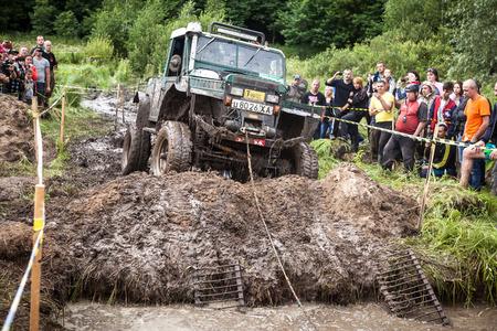 LUBOTIN, UKRAINE - JULY 23, 2016: RFC Ukraine Wild Boar Challenge 2016. Custom built TR3 Rally car passes a hard pit.