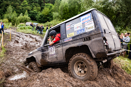 LUBOTIN, UKRAINE - JULY 23, 2016: RFC Ukraine Wild Boar Challenge 2016. Team on Toyota LandCruiser Prado 70 using sand tracks.