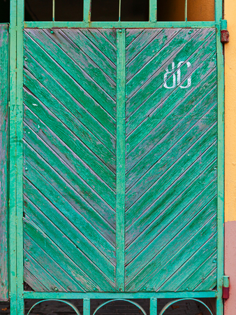 This is close up of green gate.