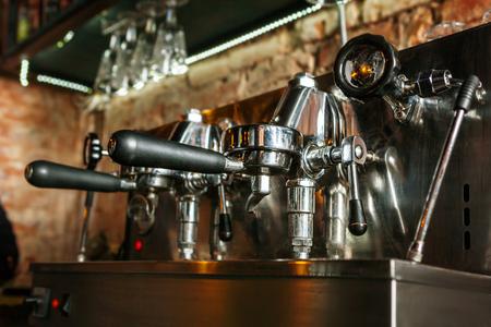 Close up of traditional Espresso Coffee Machine.