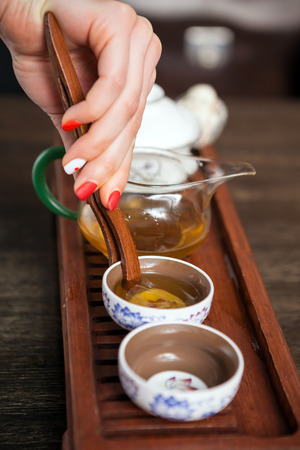 Cropped shot of traditional chinese ceremony teaware. Stock Photo