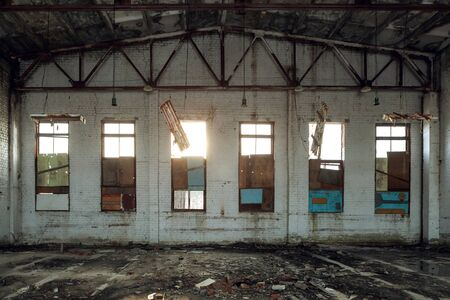Abandoned technical building interior.