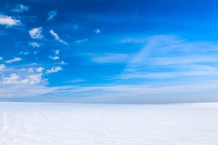 Winter landscape with bright snow and blue sky. 免版税图像