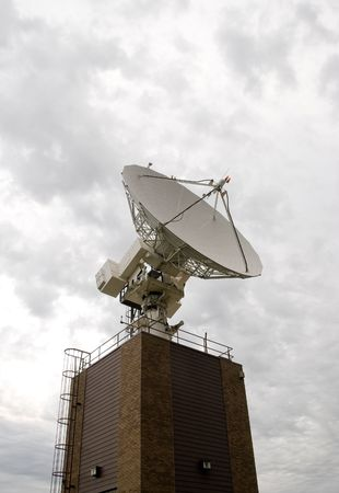 extra terrestrial: Large industrial satellite dish Stock Photo