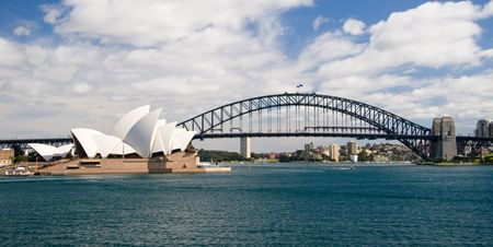 Two of Sydney Australias most famous landmarks: the Sydney Opera House and the Harbour Bridge.
