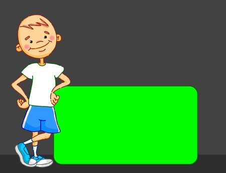 Cartoon boy character is leaning against the green screen panel. School sport kid. 2D vector illustration Illusztráció