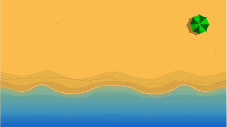 Top view of a deserted yellow beach. Aerial yellow beach, waves, footprints, umbrella. Sand background. 2d draw illustration, vector