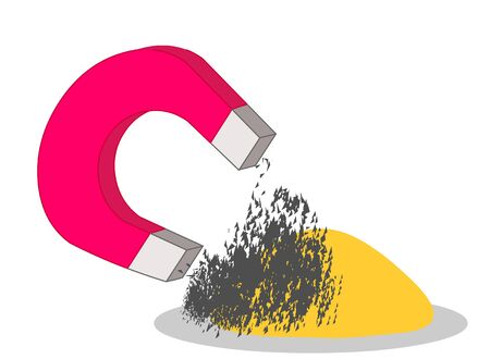 Magnet icon. Red, gray. Magnetism. Separating mixtures. Magnetics; iron, cobalt, nickel etc. These metals; With a magnet, flour, sand, salt, rice, gold, aluminum, silver is removed from the mixture. vector