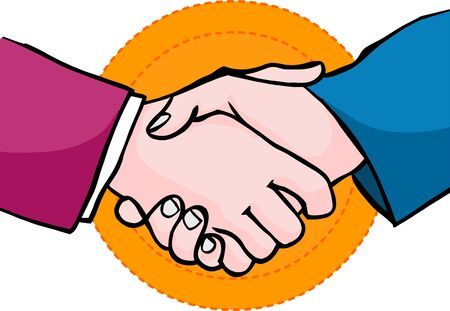 Handshake. Brush stroke business hand shake. Oval yellow, orange background. Realistic comic book design. Vector. 2D drawing illustration