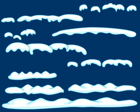 Snowy elements on winter. Set of snow caps, snow icicles and snowflakes on the ground isolated. clean blue background. Vector template in cartoon.