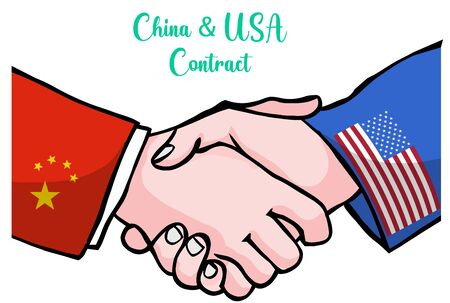United States of America and People's Republic of China flags hands shaking hands. USA and China handshake contact. Agreement, deal, accord, pact drawing vector illustration Illustration