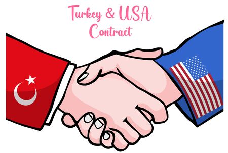 United States of America and Turkey Republic flags hands shaking hands. USA and Turkish presidents handshake contact. Agreement, deal, accord, pact brush drawing vector illustration