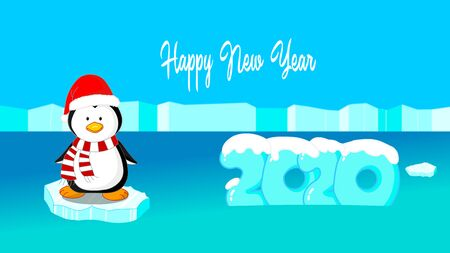 The chubby font ice 2020 appears on the water surface. covered with snow. Penguin swings in the ocean. With Santa hat, Christmas neckerchief. Happy New Year lettering together. 2d illustration Фото со стока